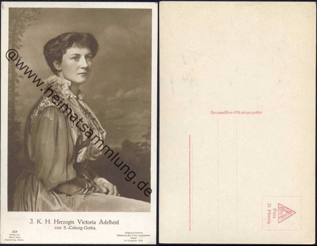 ~~~ ORGINAL~~~ POSTKARTE Herzogin Victoria Adelheid von Sachsen-Coburg und Gotha