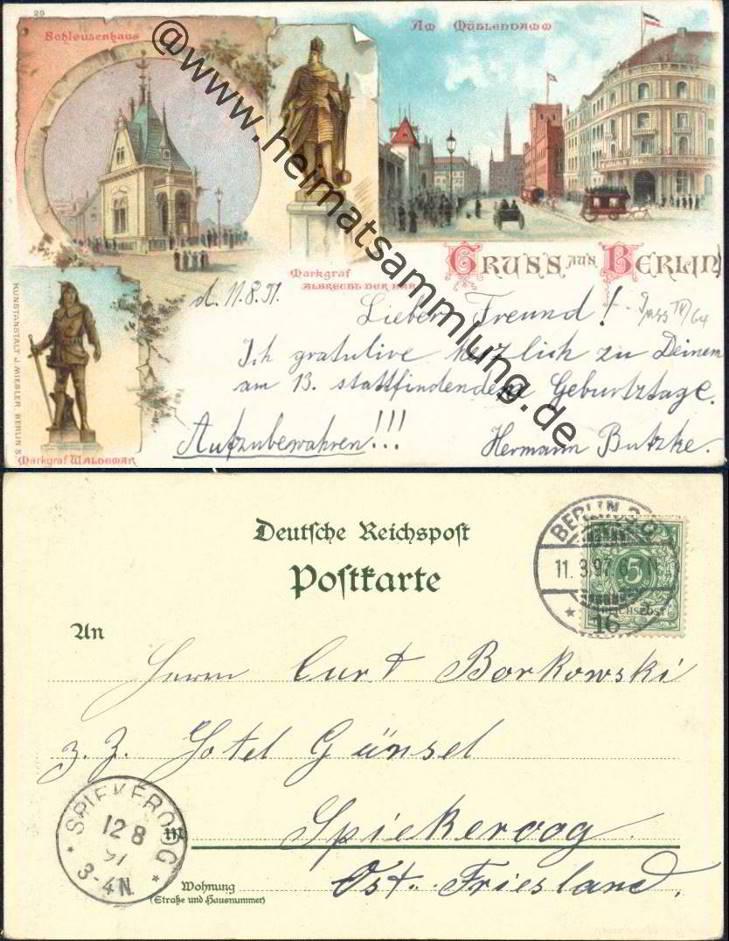 Historische ansichtskarten berlin mitte 06 - Stempel berlin mitte ...
