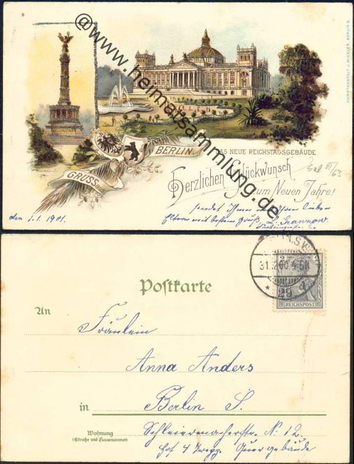 Historische ansichtskarten berlin mitte reichstag 01 - Stempel berlin mitte ...