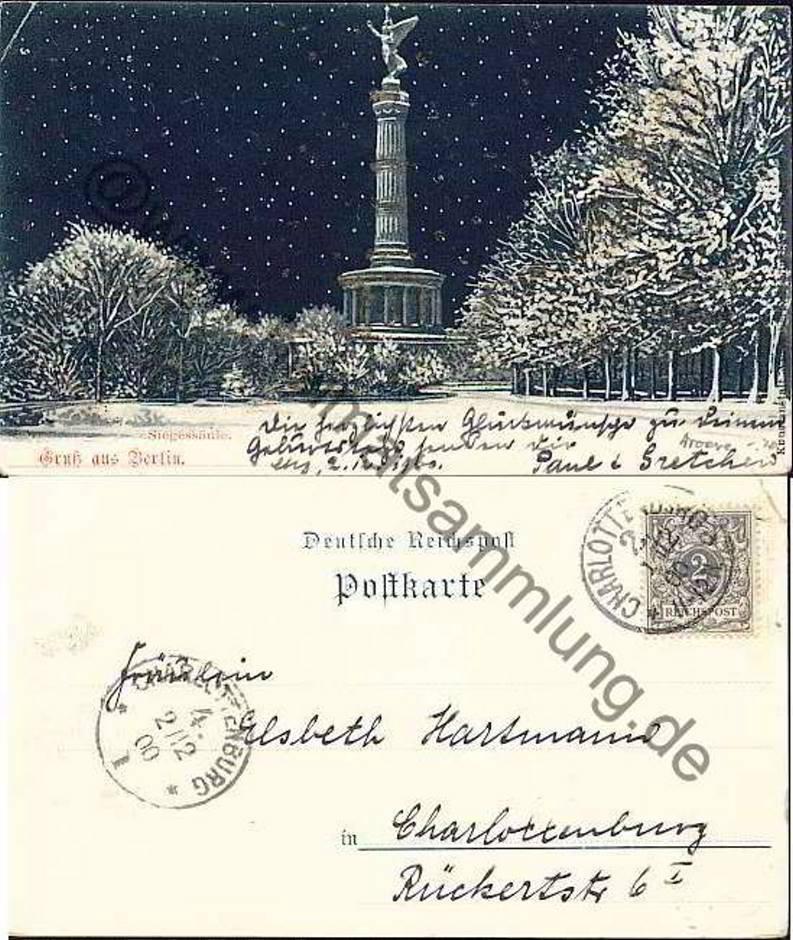 Historische ansichtskarten berlin mitte siegesallee 01 - Stempel berlin mitte ...