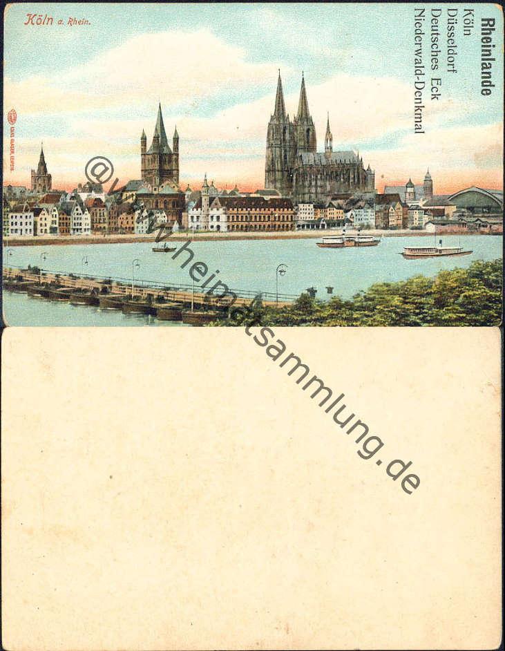 Köln pontonbrücke verlag louis glaser leipzig vorlagekarte