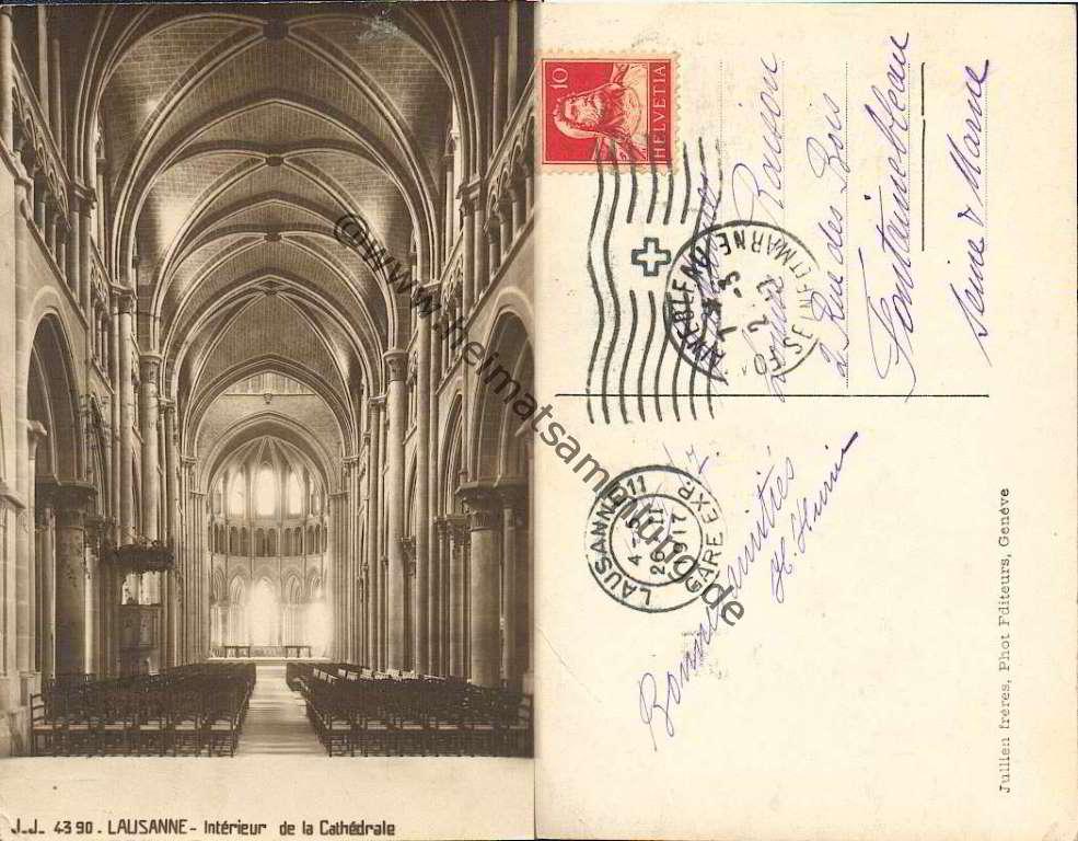 Historische ansichtskarten kanton waadt lausanne la cathedrale for Interieur verlag